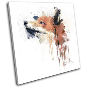 Fox Paint Forest Abstract Animals SINGLE CANVAS WALL ART Picture Print