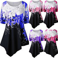 Women Floral Short Sleeve T-Shirt Blouse Summer Casual Tops Shirts Tee Plus Size