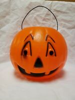 Vintage Halloween Pumpkin Blow Mold Jack O Lantern Orange Black Decorative Nice