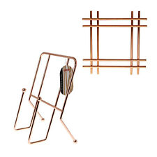 Metal Copper Cook Book Stand Tablet Holder Cross Trivet Worktop Pan Pot Stand