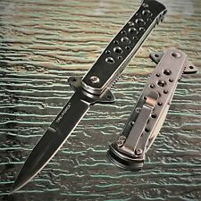 "7"" TAC FORCE SILVER STILETTO FOLDING TACTICAL KNIFE Blade Pocket Open switch"