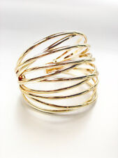 UNIQUE Artisanal Urban Anthropologie Gold Metal Ribbed Crossover Cuff Bracelet
