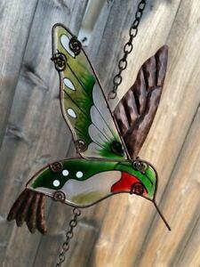 "Garden hummingbird Stained glass ornament 12""L"