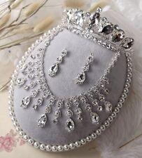 Water-Drop Dangle Necklace Earring Set Wedding Bridal Crystal Tiara Jewelry Set