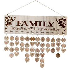 DIY Wooden Birthday Reminder Board Plaque Sign Hanging Family Calendar