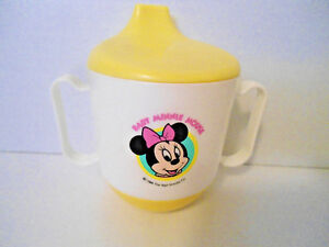 """""""Baby Minnie Mouse"""" Sippy Cup 1984 The Walt Disney Co. Yellow/White"""