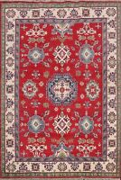 RED Super Kazak Vegetable Dye Oriental Geometric Hand-knotted Wool Area Rug 6x8