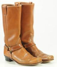 Women's Vintage Harness Biker Boots Boho Brown Leather Square Toe 8.5 Narrow