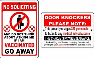 No Soliciting Sign NO ASKING ABOUT VACCINATION Anti Biden Vaccination door knock