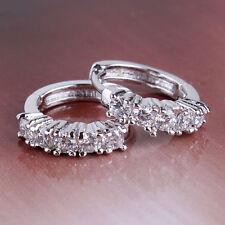 Womens 18k White Gold Filled Round Clear Swarovski Crystal Hoop Earrings Jewelry