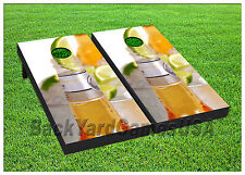 VINYL WRAPS Cornhole Boards DECALS Beer Corona Lime  Bag Toss Game Stickers 318