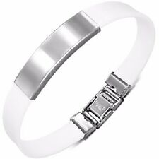 Stainless Steel ID Bracelet with White Rubber- Free Engraving