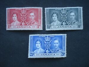 3 MM Stamps Jamaica Coronation of George VI, 1937