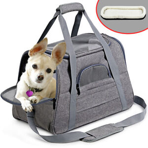Pet Dog Carrier Bag Soft Sided Puppy Cat Tote Comfort Travel Airline Approved ~