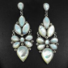 Plata 925 natural genuino blanco cremoso Madre de perla y Marcasita pendientes