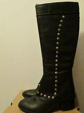 Kork Ease Black Leather Knee High Boots Silver Rivet Detailing Size 7.5 NEW