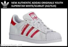 New Authentic Adidas Originals Superstar GS 3.5Y White/Scarlet