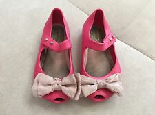 Mini Melissa Pink Girls Flats Shoes With Bow Size 7 Soft Flexible