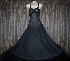 "vtg 1940s Blanche Lingerie Black Sheer Nylon Lace Satin Ribbon Nightgown 36"""