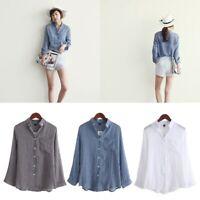 Chemisier Women Tops Autumn Linen Shirt Long Sleeve Blouse Korean Casual Fashion