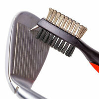 Dual Bristles Golf Club Brush Cleaner Shoes Ball Cleaning Clip Groove Spike BKRD