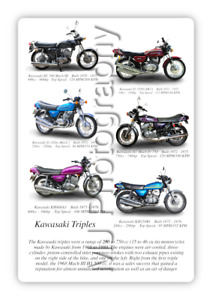 Kawasaki Triple Motorcycle Motorbike Compilation A3 Poster Photographic Paper