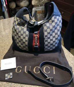 Gucci Jackie Navy Leather and Logo Fabric Shoulder Bag, Crossbody Hobo, 2015