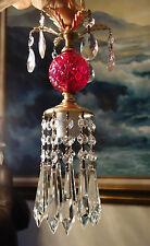 Vintage ruby glass Brass hanging pendant SWAG plugin lamp chandelier crystal