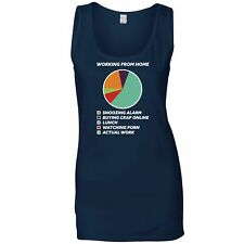 Working From Home Ladies Vest Pie Chart Joke Lazy Self Employed Funny Top