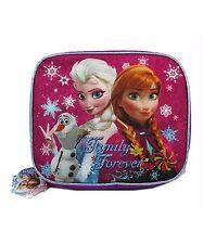 Disney Frozen Elsa Anna Olaf Lunch Bag Pink PURPLE Tote Box Pale School SPARKLE