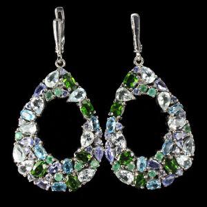 Unheated Oval Tanzanite Emerald Topaz Gems 925 Sterling Silver Big Earrings