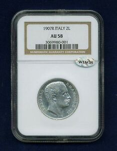 ITALY KINGDOM  1907-R 2 LIRE SILVER COIN ALMOST UNCIRCULATED, NGC CERTIFIED AU58