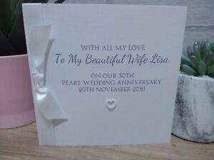 Personalised Pearl 30th Wedding Anniversary Card Handmade Husband Wife Couple