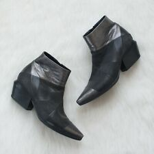 Vic Matie Mixed Material Leather Ankle Booties in Size 37 EU / 7 US Black $470
