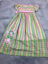 Vintage Toddler Girls Ruth Of Carolina Mouse Rainbow Stripe Maxi Dress 4T
