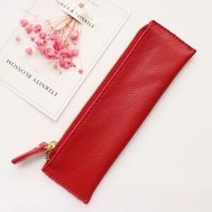 Genuine Leather Zipper Pen Bag Pencil Pouch Case Small Solid Pencil Case