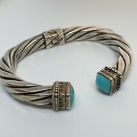 Vintage Sterling Silver 925 Turquoise Cable Twist Cuff Hinged Style Bracelet