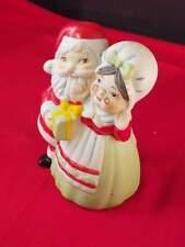 "Collectible Porcelain Bell Santa & Mrs. Santa Holding Gift 4""H"