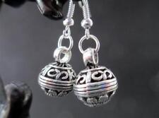 Tibetan silver round hollow ball beads earrings women new simple gift eardrops