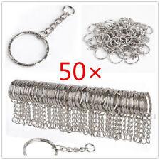 50X DIY 25mm Polished Silver Keyring Keychain Split Ring Short Chain Key Rings