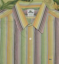 Mens LACOSTE Striped Longsleeve Button Down Shirt XXL 45