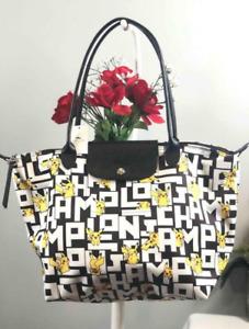 LONGCHAMP X POKEMON Pikachu Le Pliage Nylon Shoulder Bag Handbag Tote size Large