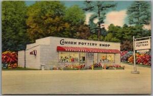 1940s Lake Hamilton, Arkansas Advertising Postcard CAMARK POTTERY SHOP Linen