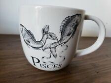 Williams Sonoma PISCES White Black 18 oz Coffee Mug Compassionate Selfless Imagi