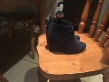 Blue Ladies Wedge ankle boots size 4