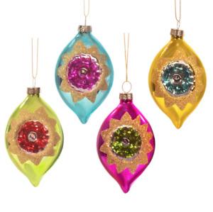 Set 4 Vintage Retro Glass Shatterproof Baubles Christmas Tree Decorations Gift