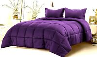 Down Alternative Comforter 800 TC Egyptian Cotton Select US Size Purple Stripe