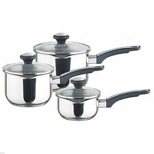 Prestige 77351 Everyday Straining Stainless Steel 3 Piece Saucepan Set - NEW