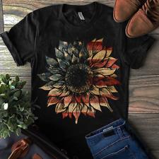 US Flag Sunflower Patriotic 4th July Independence Day Men Women T Shirt Black