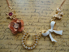 Gold Multi Charm Flower Horseshoe Star Bow Butterfly Costume Jewellery Necklace